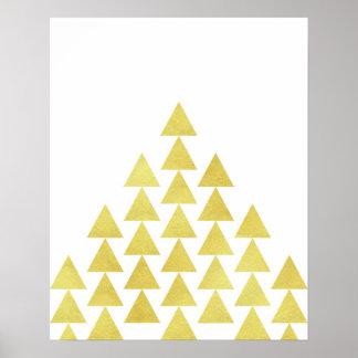 Modernt minimalist geometriskt guld omkullkastar poster