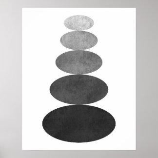 Modernt minimalist tryck för zenpebblekonst