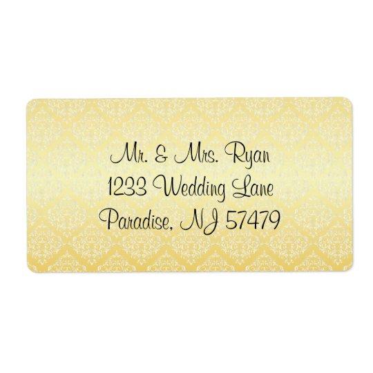 Modernt moderiktigt bröllop i en gul damast fraktsedel