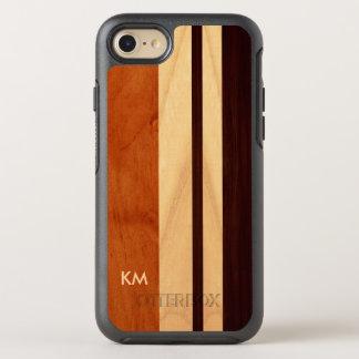 Modernt Monogrammed Woodgrainrandmönster OtterBox Symmetry iPhone 7 Skal