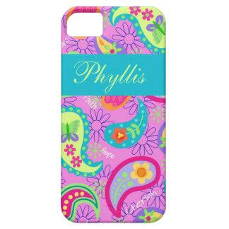 Modernt Paisley för magentafärgad rosa turkos iPhone 5 Fodral