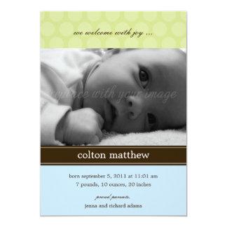 Modernt pricker födelsemeddelandet - blått 12,7 x 17,8 cm inbjudningskort