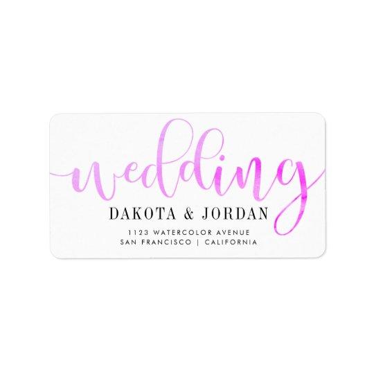 Modernt purpurfärgat vattenfärgbröllop för adressetikett