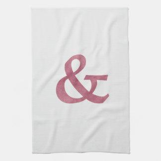 Modernt rödbrunt texturerat et-tecken och symbol kökshandduk