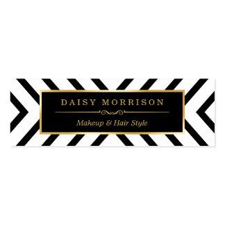 Modernt Sassy mönster för guldsvartvit Set Av Smala Visitkort
