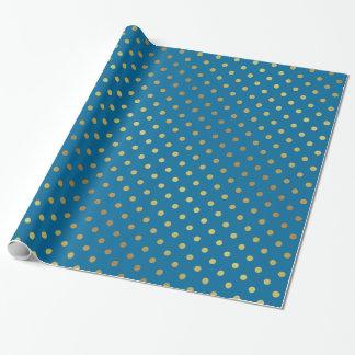 Modernt stilfullt guld och kunglig blåttpolka dots presentpapper