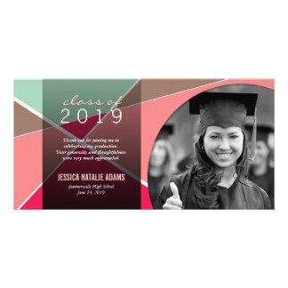 Modernt stilfullt korsmönstrat studententack fotokort