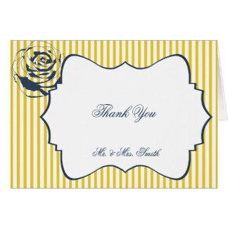 Modernt tack för bröllop för blåttgultrand OBS kort