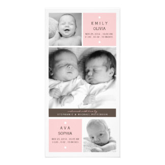 Modernt tvilling- meddelande för födelse för flick fotokort