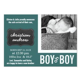 Modgrönt och svart tavlanyfödd bebisfödelse 12,7 x 17,8 cm inbjudningskort