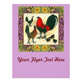 Modig fågel blommad ram reklamblad