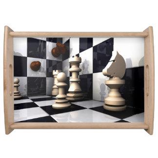 Modig schackstil serveringsbricka