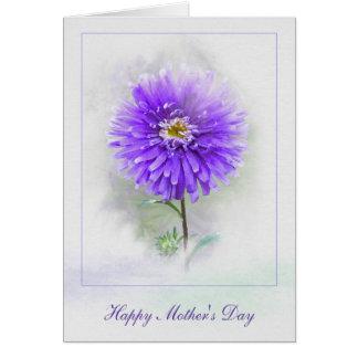 MödrarDag-lilor dahlia i vattenfärg Hälsningskort