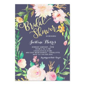 Möhippa blåa blommor, guld- inbjudan