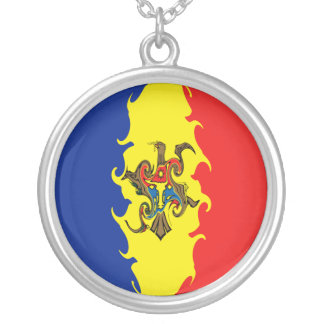 Moldavien Gnarly flagga Halsband Med Rund Hängsmycke