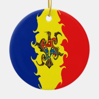 Moldavien Gnarly flagga Rund Julgransprydnad I Keramik
