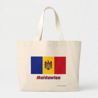 Moldawien Flagge mit Namen Tote Bag