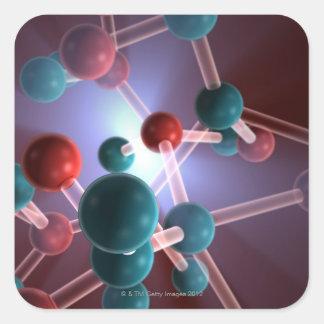 Molekylärt strukturera av Caffeine. Fyrkantigt Klistermärke