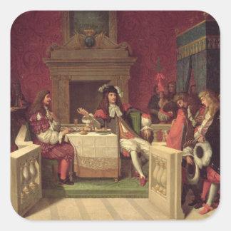 Moliere som äter middag med Louis XIV 1857 Fyrkantigt Klistermärke