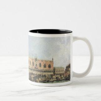 Moloen och Piazzettaen San Marco, Venedig (olja Två-Tonad Mugg