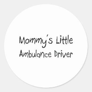 Mommys lite ambulanschaufför runt klistermärke