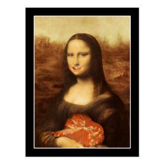 Mona Lisa gillar valentin godis Vykort