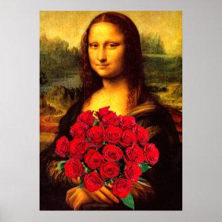 Mona Lisa med buketten av röd ros Poster