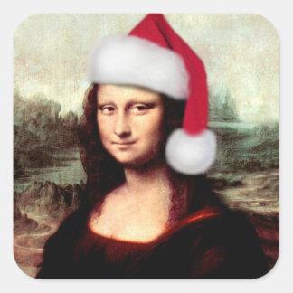 Mona Lisas julSanta hatt Fyrkantigt Klistermärke