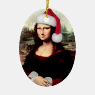 Mona Lisas julSanta hatt Ovalformad Julgransprydnad I Keramik