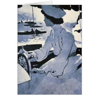 Monaco för drev för råd för vintageMotorboatkvinna Hälsningskort