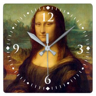 Monaen Lisa av Leonardo Da Vinci Fyrkantig Klocka