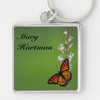 monarkfjärilsgrönt fyrkantig silverfärgad nyckelring