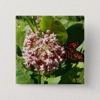 Monarkfjärilsvingar öppnar på Milkweedfotoet Standard Kanpp Fyrkantig 5.1 Cm