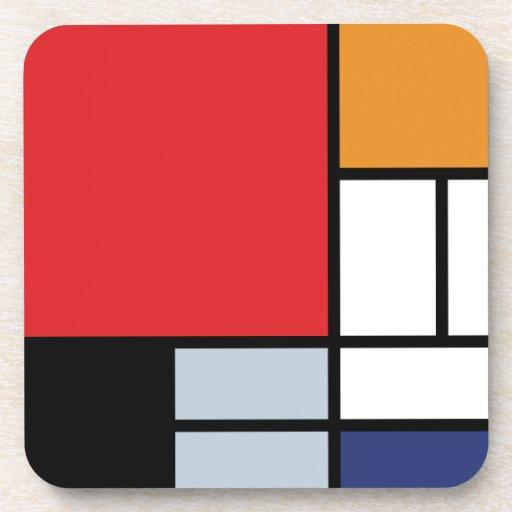 Mondrian - sammansättning med det stora röda kopp underlägg