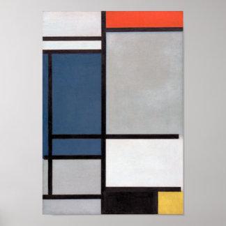 Mondrian sammansättning med rött, blått, svart, poster