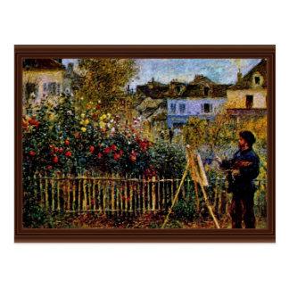 Monet målning i hans trädgård i Argenteuil Vykort