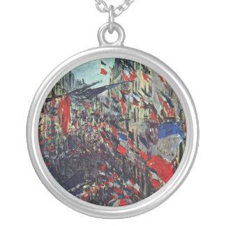 Monet - Rue Sanktt-Denis på medborgarehelgdag Silverpläterat Halsband