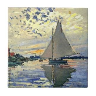 Monet - segelbåt på Le Petit-Gennevilliers Kakelplatta