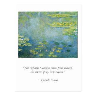 Monetb konstnärcitationstecken med näckrosor vykort