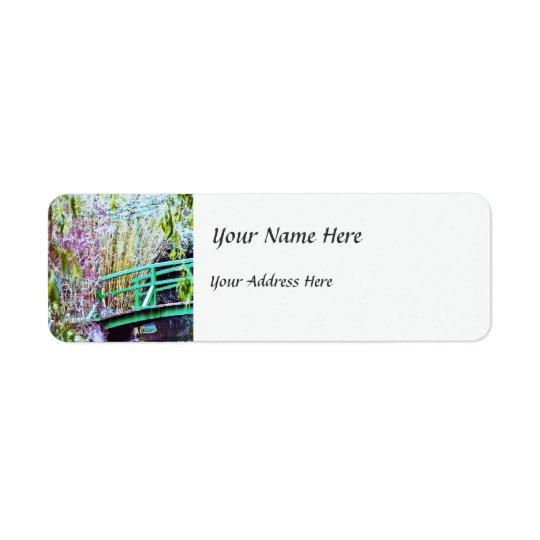 Monets överbryggar med blommor returadress etikett