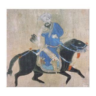 Mongol bågskytt på hästrygg canvastryck