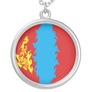 Mongoliet Gnarly flagga Halsband Med Rund Hängsmycke