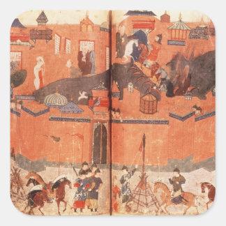 Mongols under ledarskap av Hulagu Khan Fyrkantigt Klistermärke