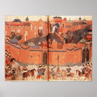 Mongols under ledarskap av Hulagu Khan Poster