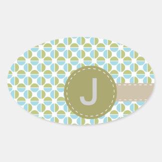 Mongram mönster ovalt klistermärke