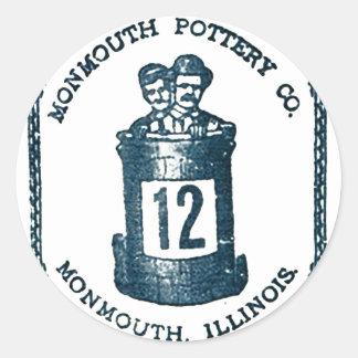 Monmouth Krukmakeri Företag, Illinois stengods Runt Klistermärke