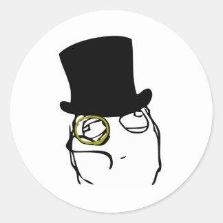 Monocled herr runt klistermärke