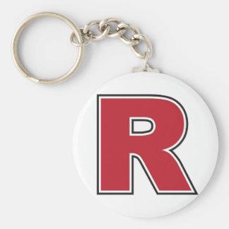 """Monogram 2,25"""" för brev R grundläggande knäppas Rund Nyckelring"""