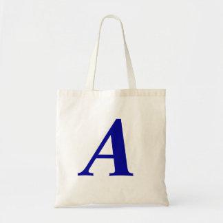 Monogram A i initial toto för blåttanpassningsbar Budget Tygkasse