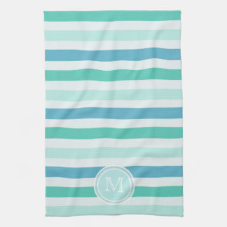Monogram: Beachy blått görar randig handduken Kökshandduk